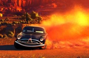 Wójt Hudson sam kiedyś się ścigał, ale zapomniano o nim. Dlatego uważa, że wszyscy powinni również zapomnieć o miasteczku Chłodnica Górska. Wójt Hudson i Zygzak McQueen. Auta - Cars - Disney 2006