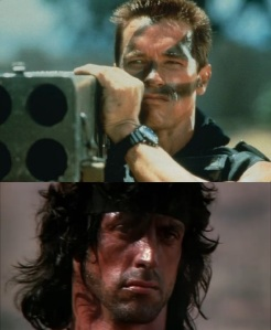 Rambo vs Commando - Rambo III 1988 Columbia Tristar - Commando 20th Century Fox 1985